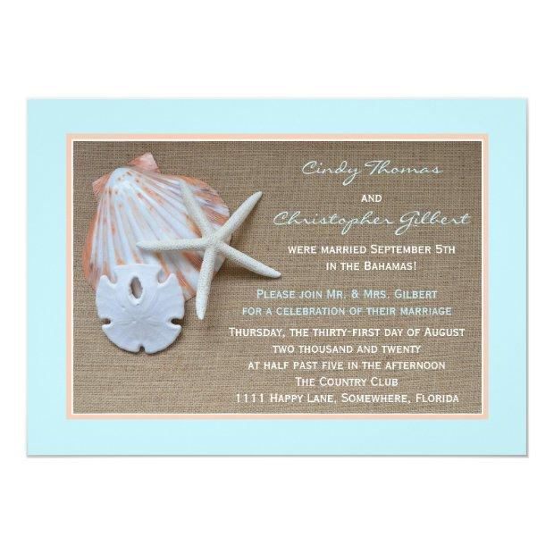 Post Wedding Reception Invitationss - Beach Burlap
