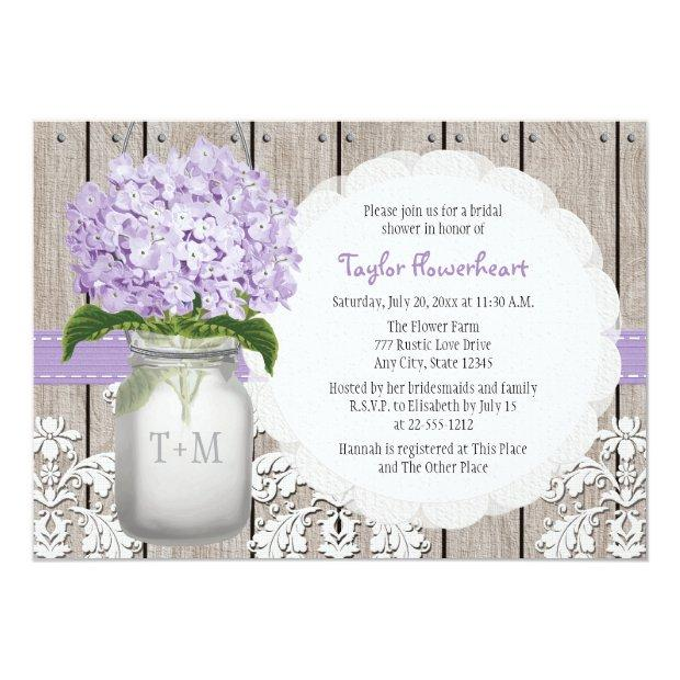 Purple Hydrangea Monogram Mason Jar Bridal Shower Invitation