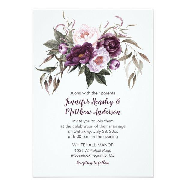 Purple Plum Pink Watercolor Floral Wedding #3