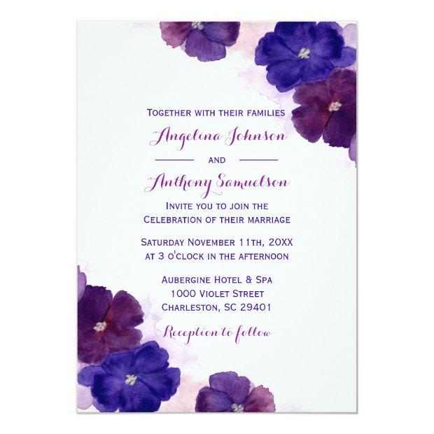 Purple Plum Royal Blue Watercolor Floral Wedding
