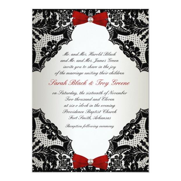 Red, White And Black Lace Wedding