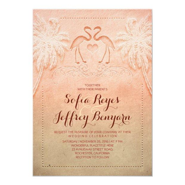 Romantic Flamingo Beach Wedding Invitations
