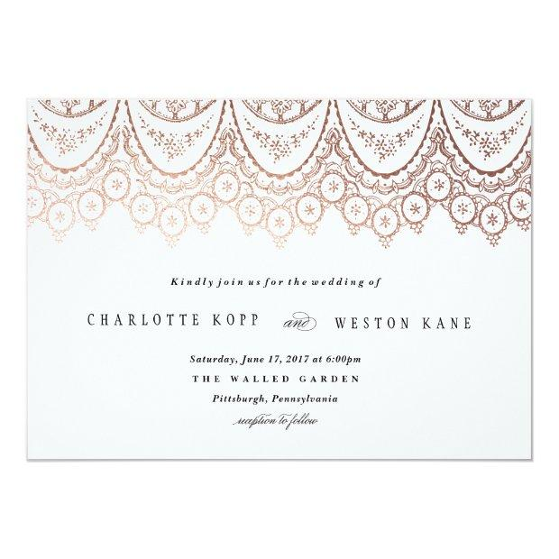Rose Gold Delicate Lace Wedding Invitations