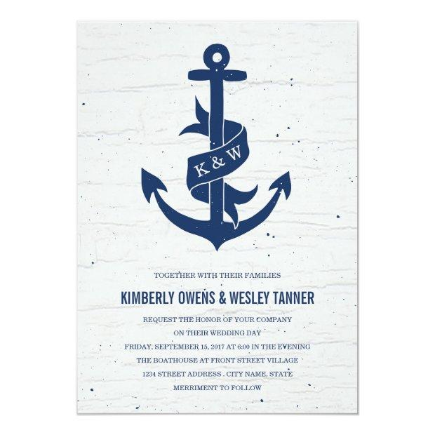 Rustic Anchor Wedding Invitations / Navy