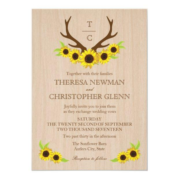 Rustic Antlers And Sunflowers Wedding Invitations