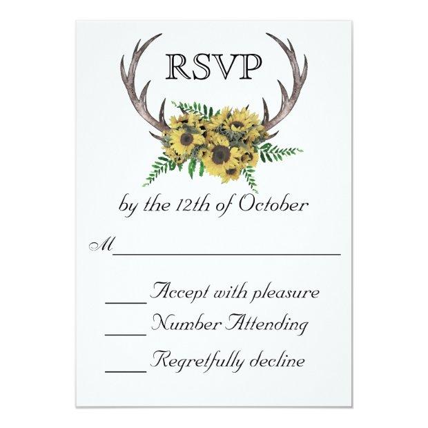 Rustic Antlers Boho Sunflowers Wedding Rsvp