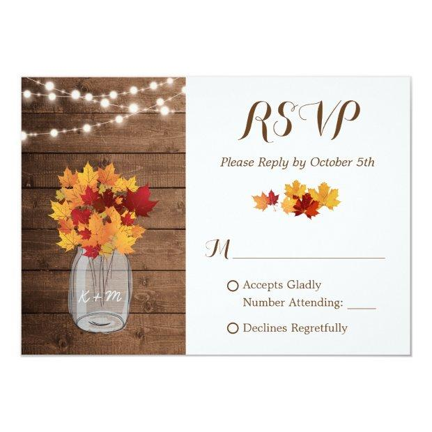 Rustic Autumn String Lights Mason Jar Wedding Rsvp