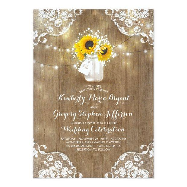 Rustic Baby's Breath And Sunflowers Floral Wedding Invitation