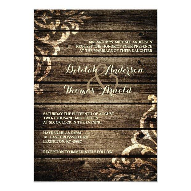 Rustic Barn Wood Damask Vintage Wedding