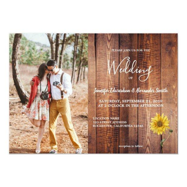 Rustic Barn Wood Sunflower Photo Country Wedding Invitation