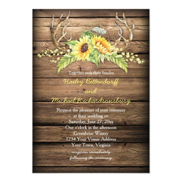 Rustic Barn Wood Sunflowers Antlers Wedding