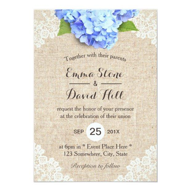 Rustic Blue Hydrangea Floral Lace & Burlap Wedding Invitationss