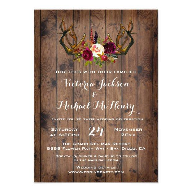 Rustic Boho Wedding  With Deer Antlers