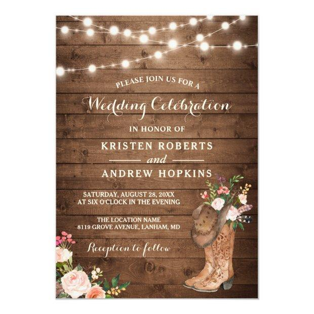 Rustic Boots Cowboy Cowgirl Floral Lights Wedding