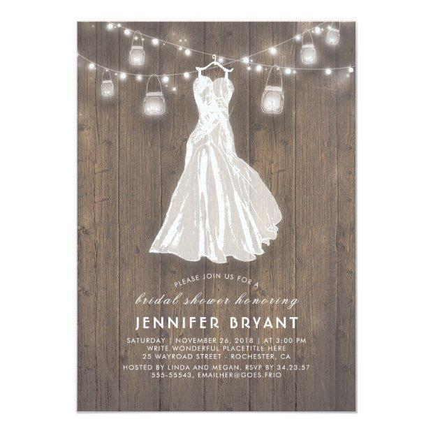 Rustic Bridal Shower | Wedding Gown And Mason Jars Invitationss