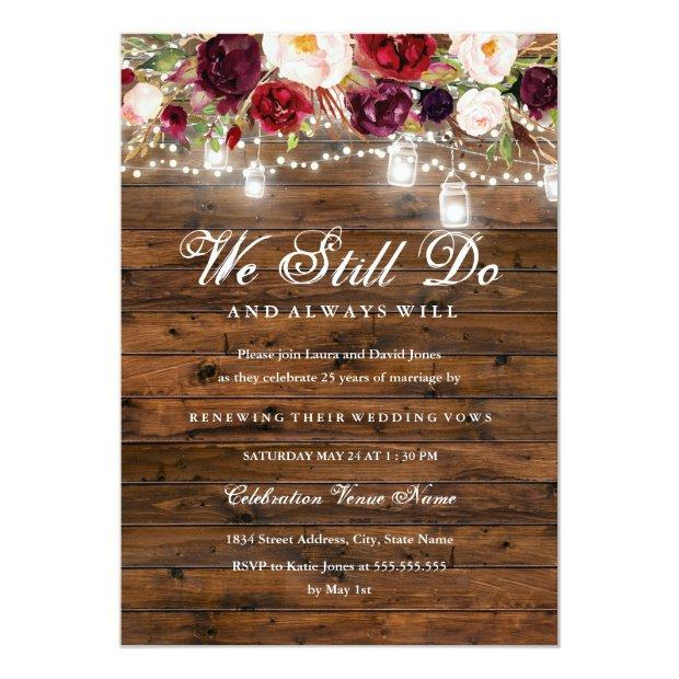 Rustic Burgundy Floral Lights Wedding Vow Renewal
