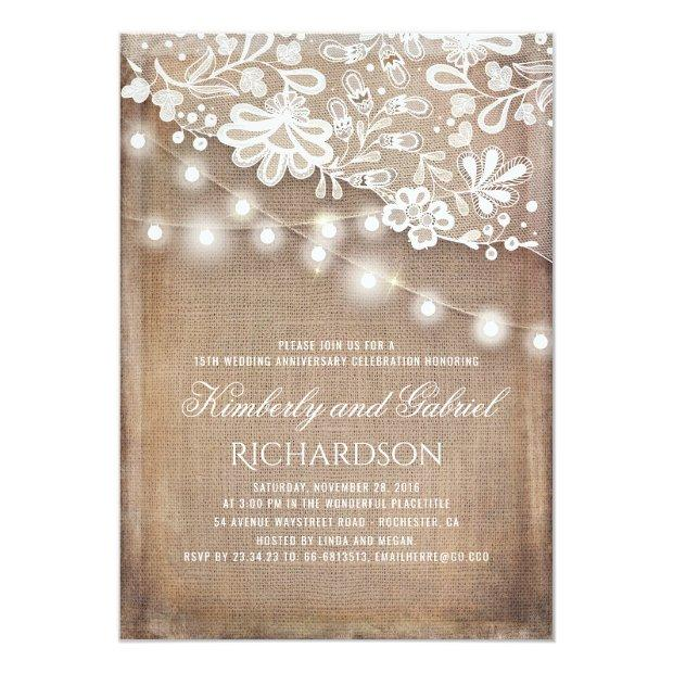 Rustic Burlap And Lights Lace Wedding Anniversary Invitationss