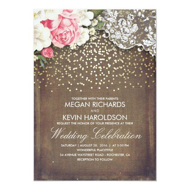 Rustic Burlap And Pink Flowers Lace Gold Wedding Invitationss