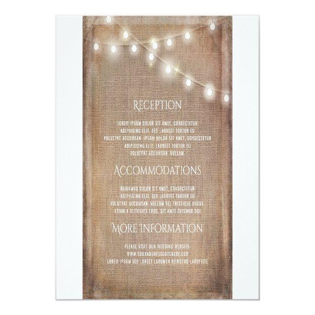Rustic Burlap String Lights Wedding Information