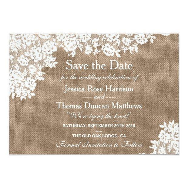 Rustic Burlap & Vintage Lace Wedding Save The Date Invitationss