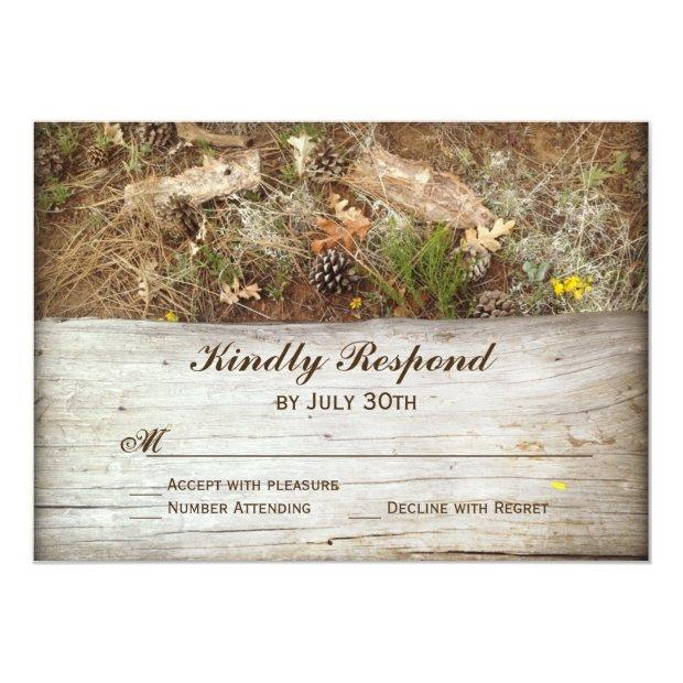 Rustic Camo And Wood Country Wedding Rsvp Invitation
