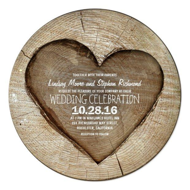 Rustic Carved Tree Wood Heart Wedding