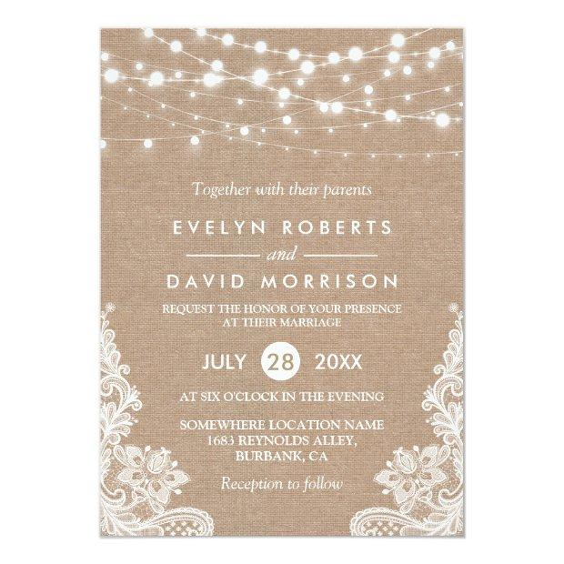 Rustic Country Burlap String Lights Lace Wedding Invitationss
