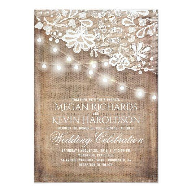 Rustic Country Burlap String Lights Lace Wedding