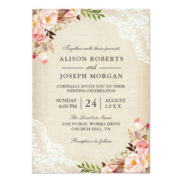 Rustic Country Classy Floral Lace Burlap Wedding Invitationss