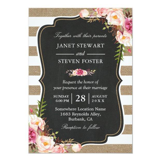 Rustic Country Flowers Burlap Stripes Chic Wedding Invitationss