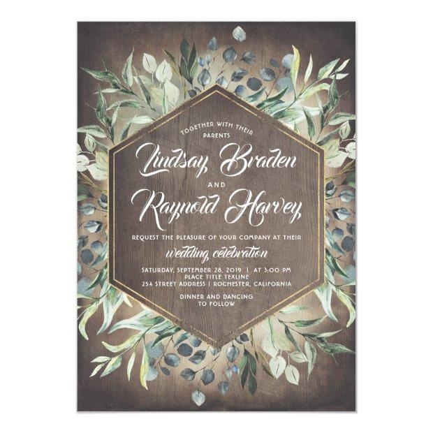 Rustic Country Greenery Barn Wedding Invitations