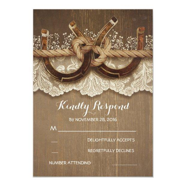 Rustic Country Horseshoes Wood Lace Wedding Rsvp Invitation
