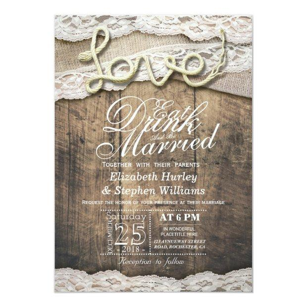 Rustic Country Lace Eat Drink Be Married Wedding