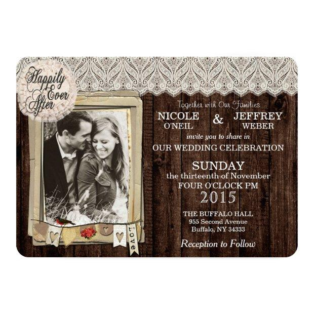 Rustic Country Photo Wedding Invitations