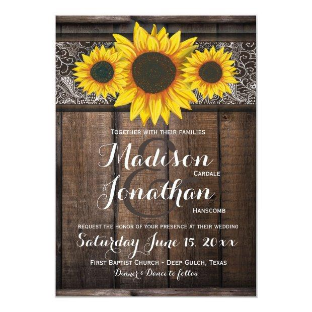 Rustic Country Sunflower Wood Wedding Invitationss