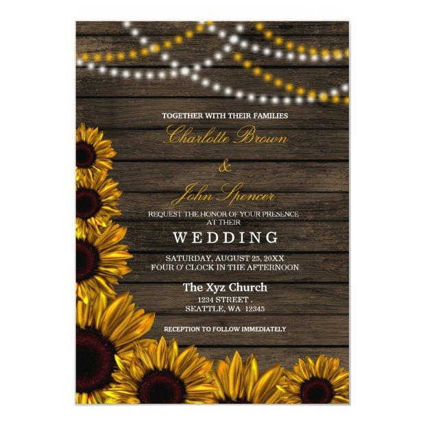 Rustic Country Sunflowers Barn Wood Wedding