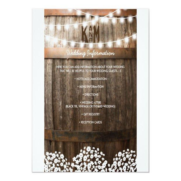 Rustic Country Wedding Details   String Of Lights Invitationss