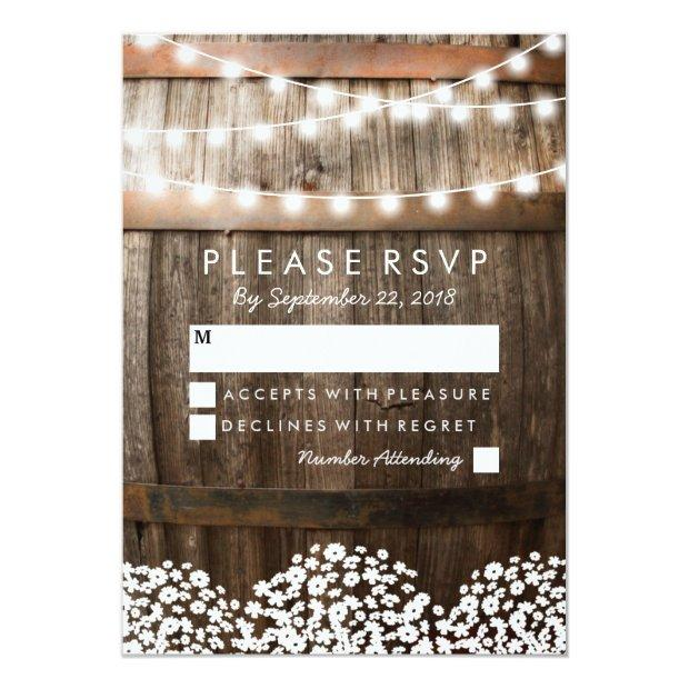 Rustic Country Wedding Rsvp   String Of Lights Invitationss