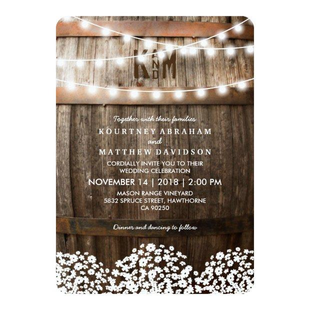 Rustic Country Wedding | String Of Lights Invitationss