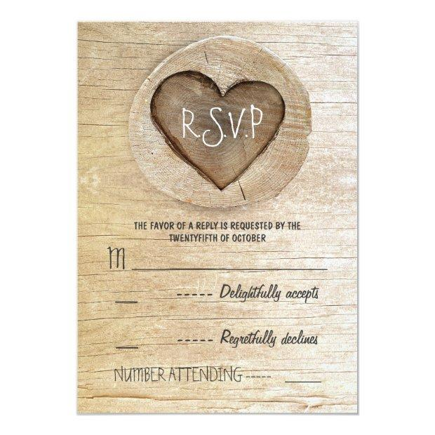 Rustic Country Wood Heart Wedding Rsvp Invitation
