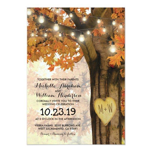 Rustic Fall Autumn Tree Twinkle Lights Wedding