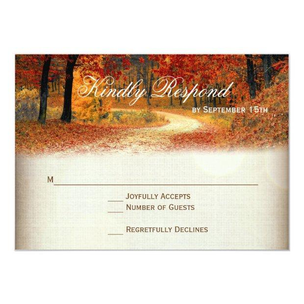 Rustic Fall Leaves Autumn Wedding Rsvp
