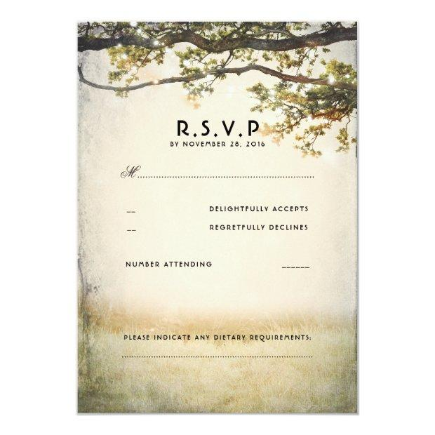 Rustic Fall Tree Branches Wedding Rsvp Invitationss