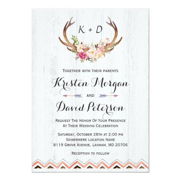 Rustic Floral Antler White Wood Boho Decor Wedding