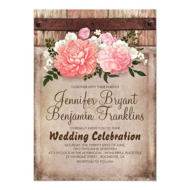 Rustic Floral Burlap And Barn Wood Country Wedding Invitationss