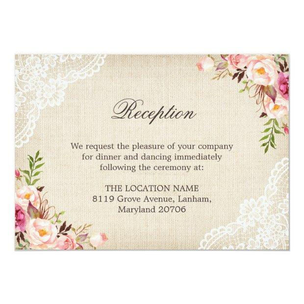 Rustic Floral Lace Burlap Reception Accommodation Invitation