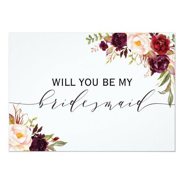 Rustic Floral Will You Be My Bridesmaid | 2 Sided Invitation