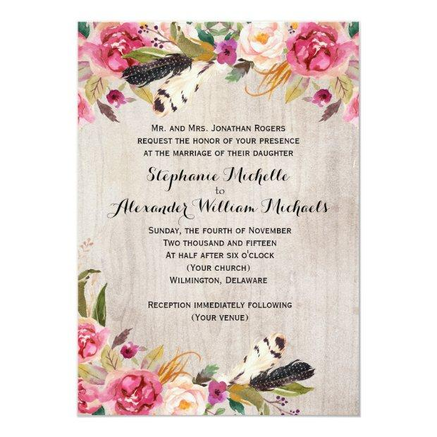 Rustic Flowers And Feathers Wedding Invitationss