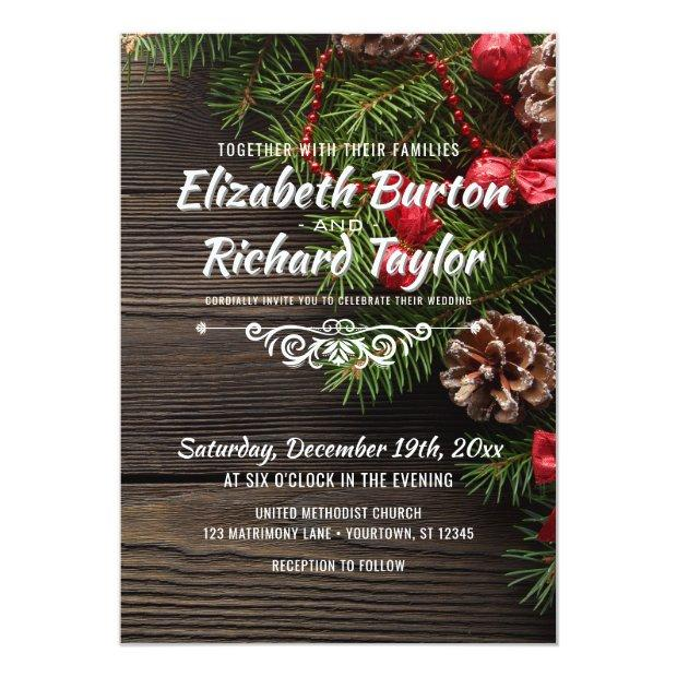 Rustic Holiday Pine Wreath Winter Wedding