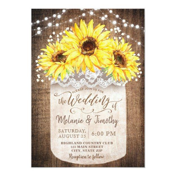 Rustic Jar Sunflower Wood Wedding